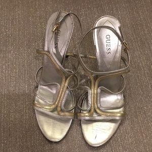 GUESS matte silver and matte gold strapped heel